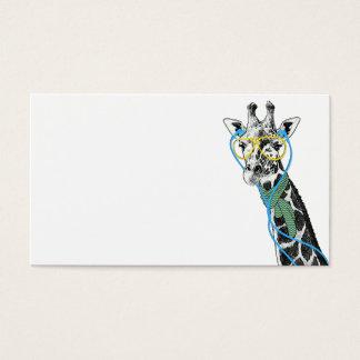 ガラス、イヤホーンを持つクールでおもしろいで粋なキリン 名刺