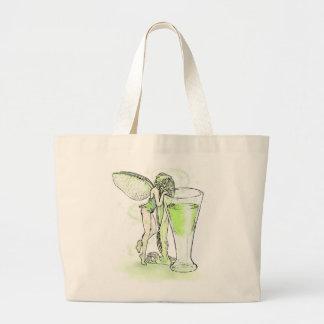 ガラス(文字無し)を持つアブサンのLa料金のVerteの妖精 ラージトートバッグ