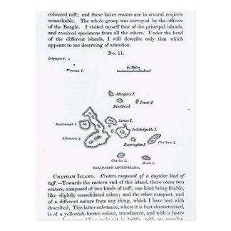 ガラパゴスの多島海の地図、1844年 ポストカード