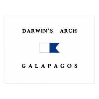 ガラパゴスダーウィンのアーチのアルファ飛び込みの旗 ポストカード