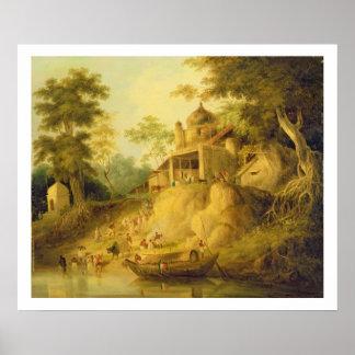 ガンジス川、c.1820-30 (キャンバスの油)の銀行 ポスター