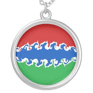 ガンビアのすごい旗 シルバープレートネックレス