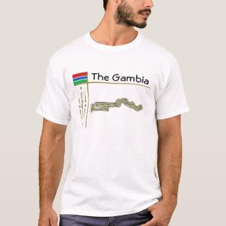 ガンビアの地図 + 旗 + タイトルのTシャツ Tシャツ