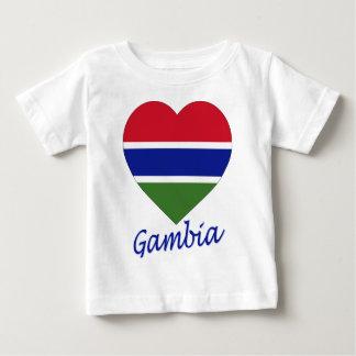 ガンビアの旗のハート ベビーTシャツ