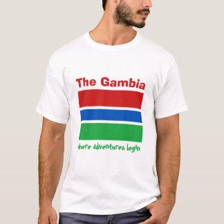 ガンビアの旗 + 地図 + 文字のTシャツ Tシャツ