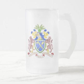 ガンビアの紋章付き外衣 フロストグラスビールジョッキ