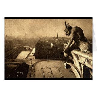 ガーゴイルNotre Dameのパリフランスの1912年のヴィンテージ カード