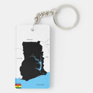 ガーナの国の地図の旗 長方形(両面)アクリル製キーホルダー