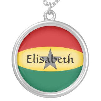 ガーナの旗 + 一流のネックレス シルバープレートネックレス