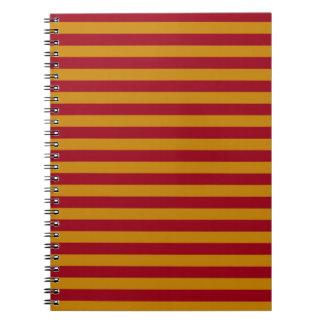 ガーネットおよび金ゴールドのストライプなノート ノートブック