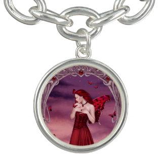 ガーネットBirthstoneの妖精のチャームブレスレット ブレス