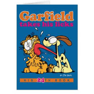 ガーフィールドは彼の舐めますメッセージカードを取ります グリーティングカード