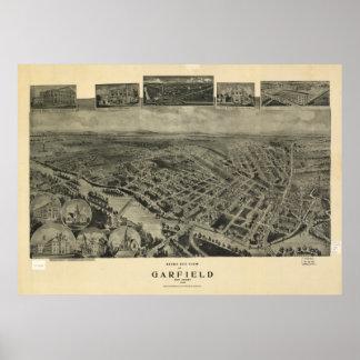 ガーフィールドニュージャージー1909の旧式なパノラマ式の地図 ポスター