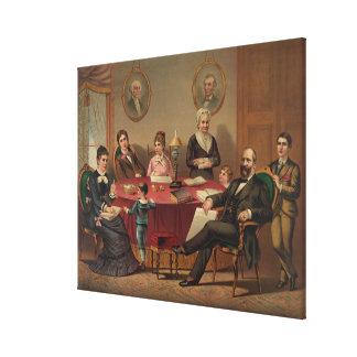 ガーフィールド大統領及び家族の石版のプリント キャンバスプリント