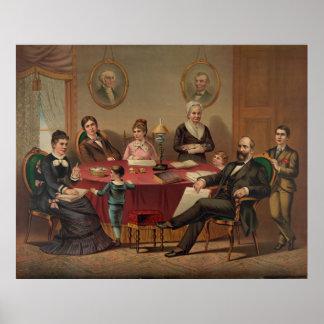 ガーフィールド大統領及び家族の石版のプリント ポスター