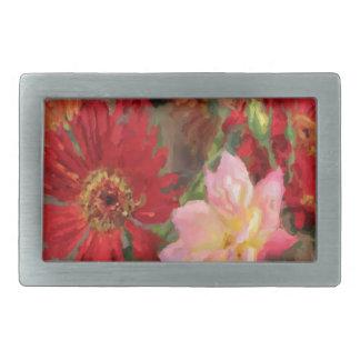 ガーベラのデイジーおよびばら色の花束の油絵 長方形ベルトバックル