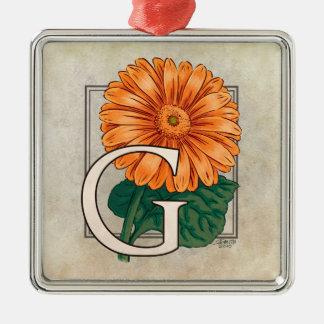 ガーベラの花のモノグラムのためのG メタルオーナメント
