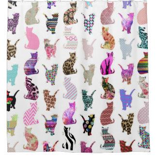 ガーリーでお洒落な猫のアズテック派の花柄のストライプなパターン シャワーカーテン