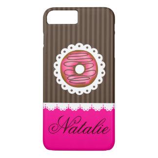 ガーリーでかわいいピンク及びブラウンドーナツ名前入りな名前 iPhone 8 PLUS/7 PLUSケース