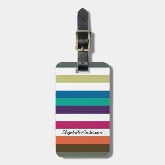 ガーリーではっきりしたな虹の大きい横のストライプおよび名前 ネームタグ