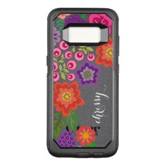 ガーリーでカラフルな花パターン名前をカスタムするのモノグラム オッターボックスコミューターSamsung GALAXY S8 ケース