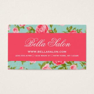 ガーリーでシックでエレガントなヴィンテージの花柄のバラ 名刺