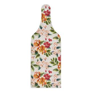 ガーリーでシックな花パターン水彩画の絵 カッティングボード