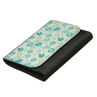 ガーリーでスタイリッシュなティール(緑がかった色)の青デイジーの花柄パターン