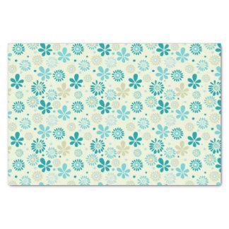 ガーリーでスタイリッシュなティール(緑がかった色)の青デイジーの花柄パターン 薄葉紙