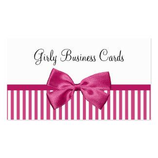 ガーリーで明るいピンクおよび白のストライプのかわいいピンクの弓 スタンダード名刺