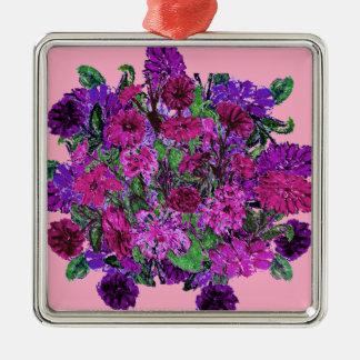 ガーリーで柔らかいピンクwのかわいらしい紫色の花のオーナメント メタルオーナメント