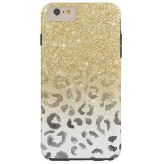 ガーリーで粋で模造のな金ゴールドのグリッターのヒョウの水彩画 TOUGH iPhone 6 PLUS ケース