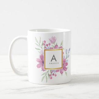 ガーリーで粋な水彩画のシャクヤクおよび花のモノグラム コーヒーマグカップ
