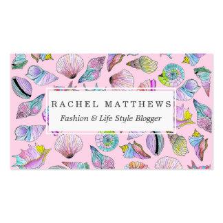 ガーリーで色彩の鮮やかな水彩画のペンキの夏の貝殻 スタンダード名刺