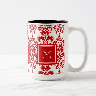 ガーリーで赤いダマスク織パターン2あなたのイニシャル ツートーンマグカップ