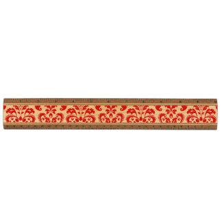 ガーリーで赤く白いヴィンテージのダマスク織パターン2 定規