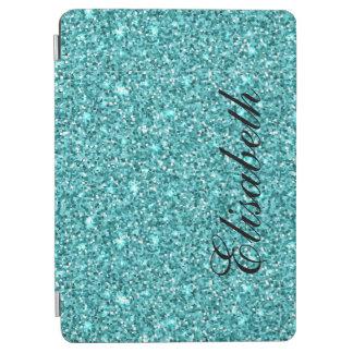 ガーリーで青いグリッターによって印刷される名前入り iPad AIR カバー