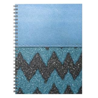 ガーリーで青い革シマウマパターングリッターのプリント ノートブック