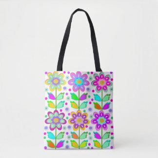ガーリーで風変わりな花柄 トートバッグ