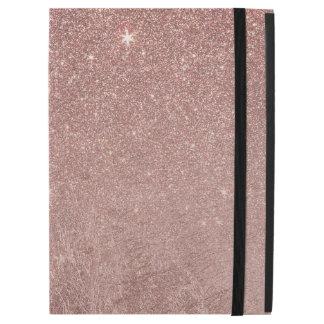"""ガーリーで魅力的なピンクのバラの金ゴールドホイルおよびグリッターの網 iPad PRO 12.9"""" ケース"""