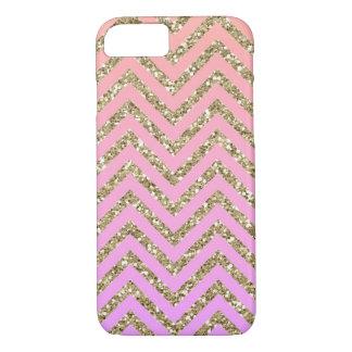 ガーリーで魅力的な金ゴールド及びピンクのシェブロンのiPhone 7の場合 iPhone 8/7ケース