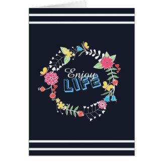 """ガーリーで鮮やかな花の円の""""楽しむな生命""""単語 カード"""