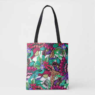 ガーリーで鮮やかな花園の図解入りの、写真付きのなスケッチ トートバッグ