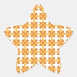 ガーリーなおもしろいのオレンジCrisの十字の花の花模様 星シール