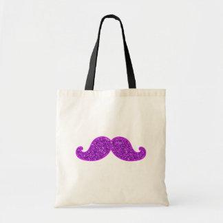 ガーリーなおもしろいのレトロの髭の紫色のグリッター トートバッグ