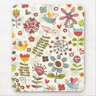 ガーリーなおもしろいの鳥および花のマウスパッド マウスパッド