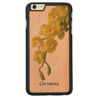 ガーリーなぼろぼろのシックで黄色い蘭のハンドメイドのカスタム CarvedチェリーiPhone 6 PLUSスリムケース