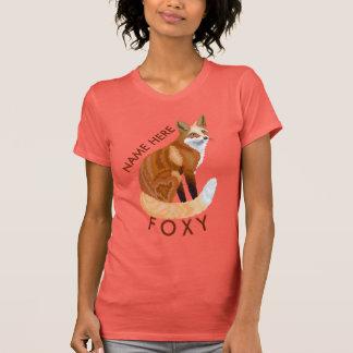 ガーリーなアカギツネのレトロのスタイルはずるいこれを個人化します Tシャツ
