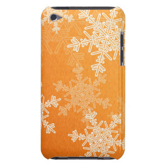 ガーリーなオレンジおよびホワイトクリスマスの雪片 Case-Mate iPod TOUCH ケース