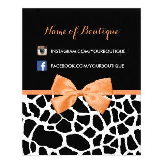 ガーリーなキリンのプリントのオレンジ弓ファッションのブティック チラシ